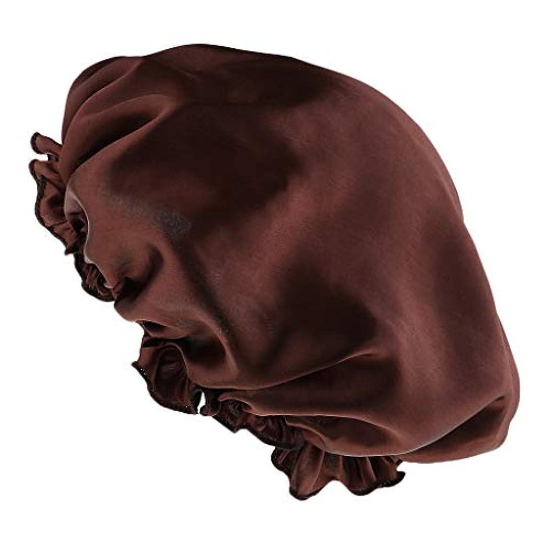 奪うペルー落胆する女性サテンの夜の眠り帽子髪ボンネットキャップヘッドカバーターバンラップ弾性 - コーヒー