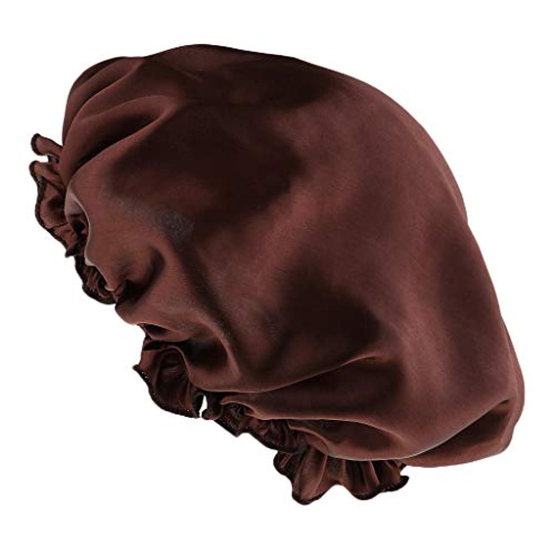 幾何学する理論的シャワーキャップ シルクサテン 眠り帽子 ヘッドカバー 睡眠キャップ ヘアケア 全8色 - コーヒー