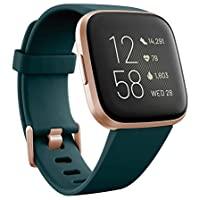 Fitbit Versa 2 Alexa搭載 スマートウォッチ Emerald/Copper Rose L/S サイズ [日本正規品] FB507RGPE