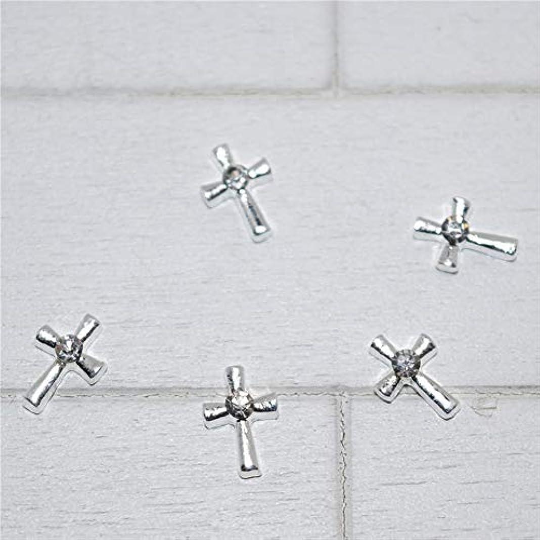 りんご急勾配の残基10個入りの新しいシルバークロス3Dネイルアートの装飾、合金ネイルチャームネイルズラインストーンネイル用品