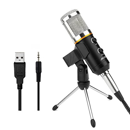 ARCHEER コンデンサーマイク 3.5ミニプラグ USB充電 録音/チャット/スカイプ/動画投稿/ゲーム実況 PC対応