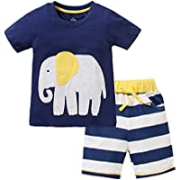 Favorland Little Boys' Baby Toddler Kids Cotton Summer Elephant T-Shirt Shorts Set Outfit