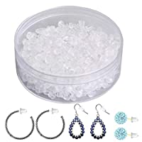 Artilife 500 pcs Rubber Earring Backs Clear Silicon Clip on Backs Earring Posts for Earrings Bullet Clutch Stoppers Backdrops, Soft and Hypoallergenic
