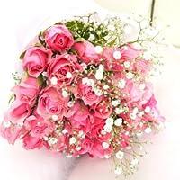 幸せのピンク色のバラ30本の花束 カスミソウ・グリーン付き【生花】【お祝い・記念日・誕生日・フラワーギフト・バラ】