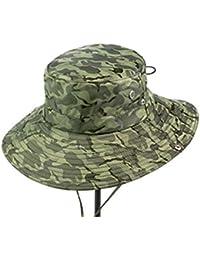 IAIZI メンズアウトドアサンハット、Foldable釣り登山帽、夏の旅行サンプロテクションUVカモ帽子、風ロープ (色 : C)
