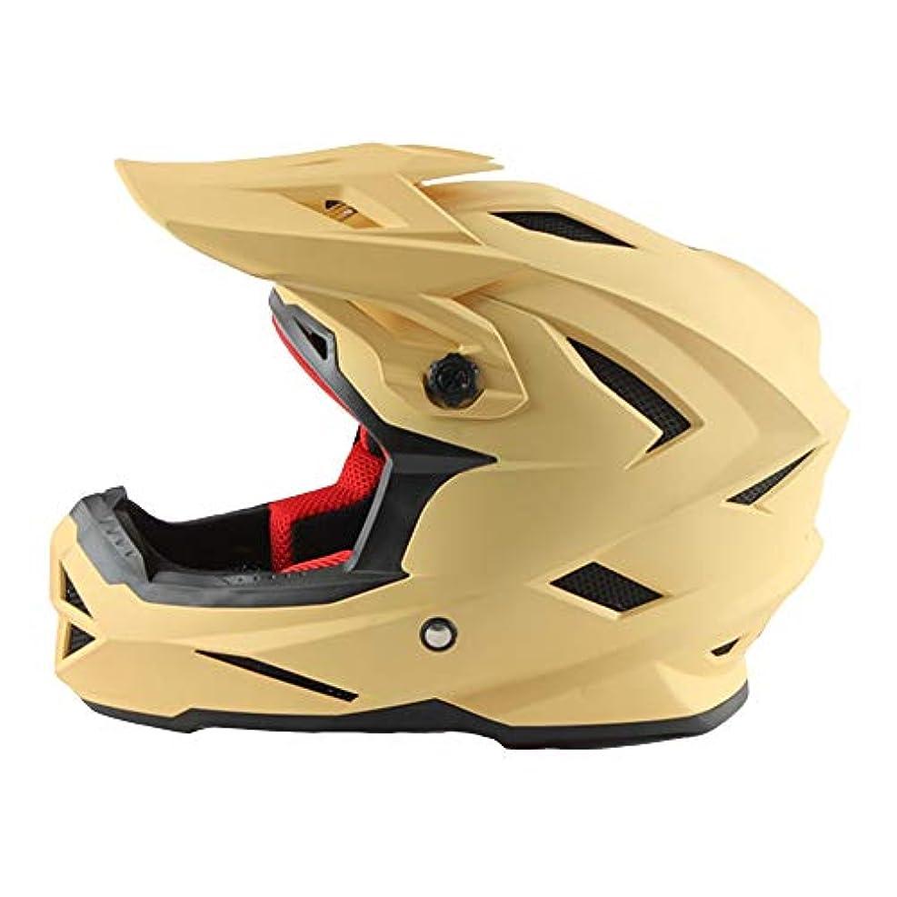 ニックネーム簿記係近傍HYH 自転車フルフェイスヘルメットオートバイクロスカントリーヘルメットダウンヒルヘルメットフルフェイスモトクロスヘルメットロードオフロードレーシングヘルメット - 黄色 - 大 いい人生 (Size : L)