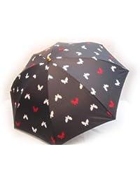 KitagawaSyouten[キタガワショウテン] 折りたたみ雨傘 レディース 雨傘 折畳傘 婦人 蝶柄 アカ