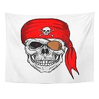 MKLOS Wall Hanging Exotic Brown Cartoon Skull Pirate Red Bandana Bandit Black Tablecloth Tapestry おしゃれ壁掛け タペストリー ファブリック装飾 60x80 Inches Wall Art Custom