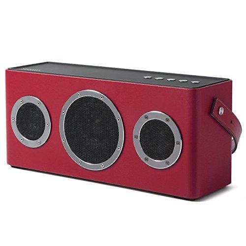 GGMM Wifi Bluetooth スピーカー ポータブル ワイヤレス スピーカー AirPlay DLNA対応 40Wデュアルドライバー オーディオ Bassボタン 低音強化 大容量バッテリー 長時間持続再生 トラップ付き アウトドア用 ステレオ 高音質 スピーカー M4 (レッド)