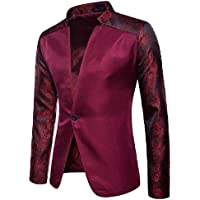 Energy Men's Solid Floral Printed Raglan Sleeve Button Down Blazer Jacket Red Wine XS