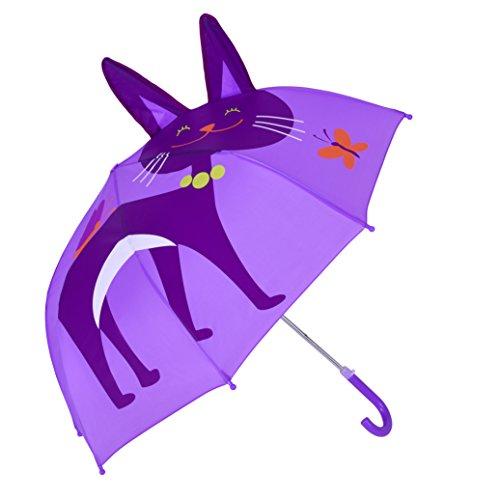 (レインブレース)Rainbrace子供傘 3D動物キャラクター キッズ傘 ドーム型 耳付き キッズアンブレラ 猫 パープル