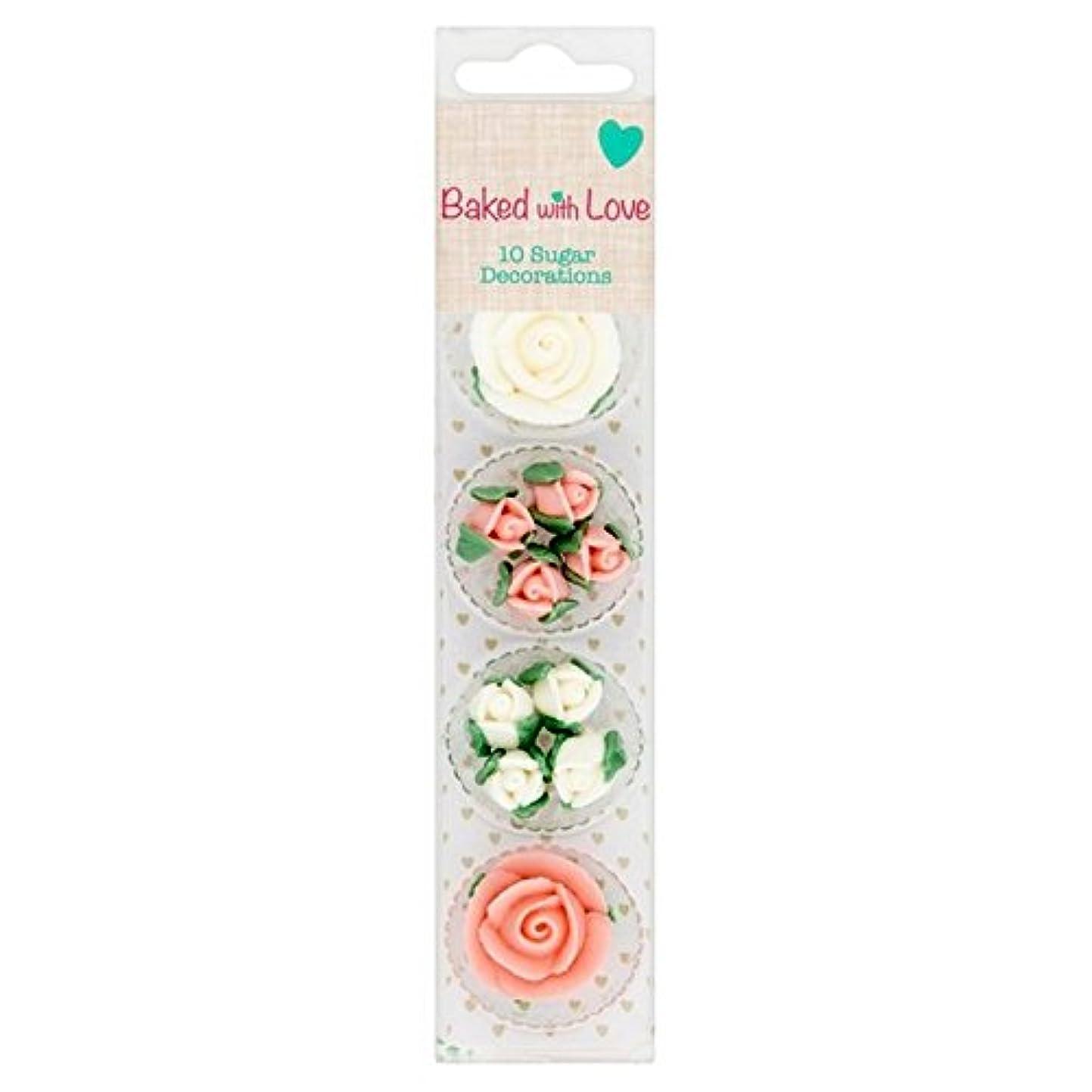 ノーブル願望絶え間ない(Baked (焼きました)) 愛のピンクと白で砂糖の飾りにパックあたり10ローズ (x6) - Baked With Love Pink And White Rose Sugar Decorations 10 per pack (Pack of 6) [並行輸入品]