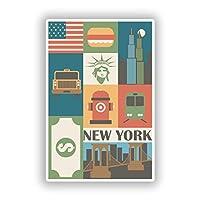 2 x 25cm ニューヨーク - ノートPCやタブレット用ビニールステッカー #10100
