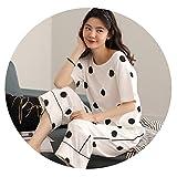 2019年の女性の夏の半袖8パンツの綿の漫画の綿の漫画のセット2組の緩い婦人服の韓国語バージョン