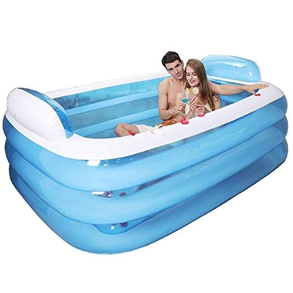 尋ねるビート土器エアバス付きプラスチック携帯式折り畳み式プール風呂に家庭用SPAバスタブに電動空気ポンプ、160 X 120×60 Cm、青色