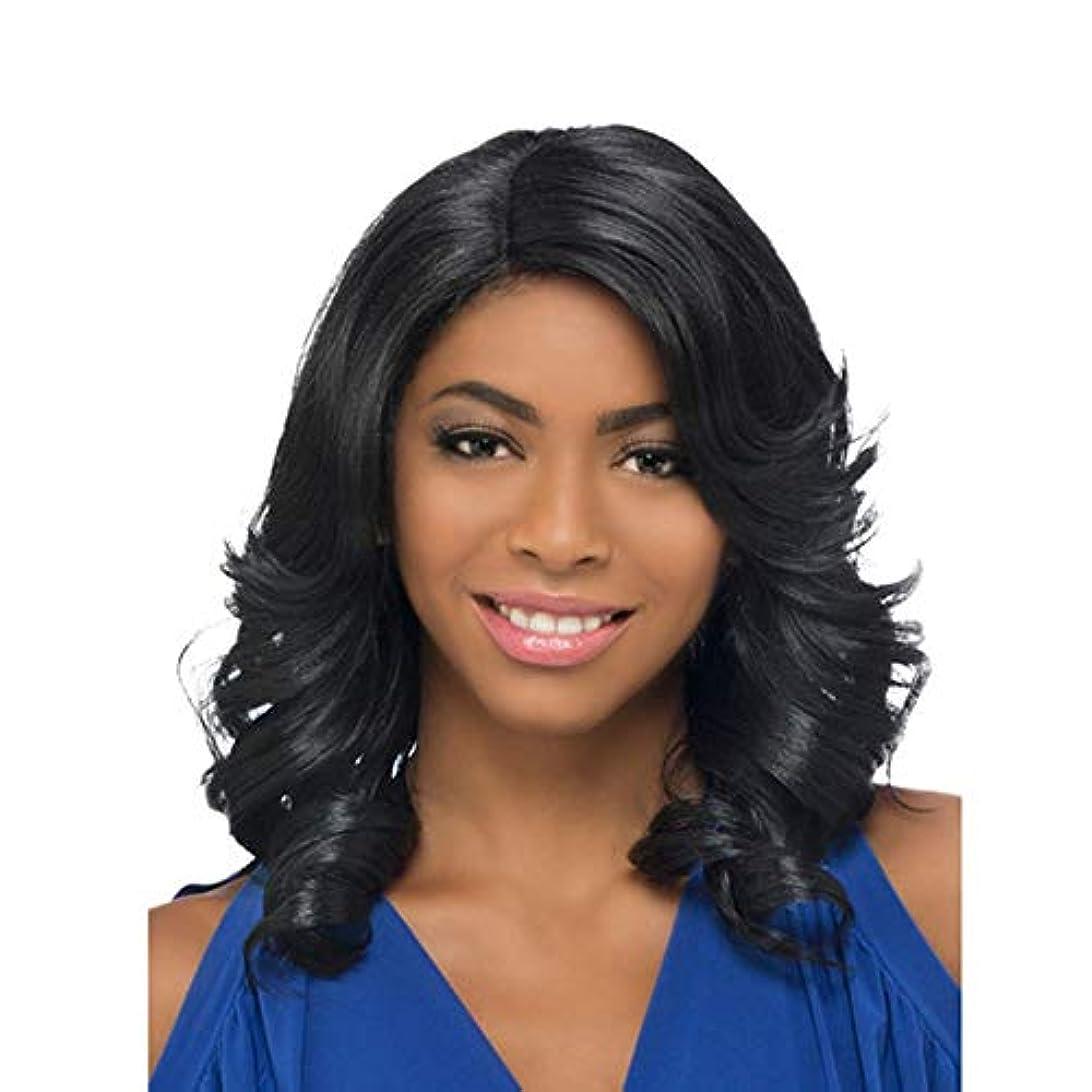 大学院学校教育篭WASAIO 女性の長いストレートの髪のかつら肩の長さの前髪と波状 (色 : 黒)