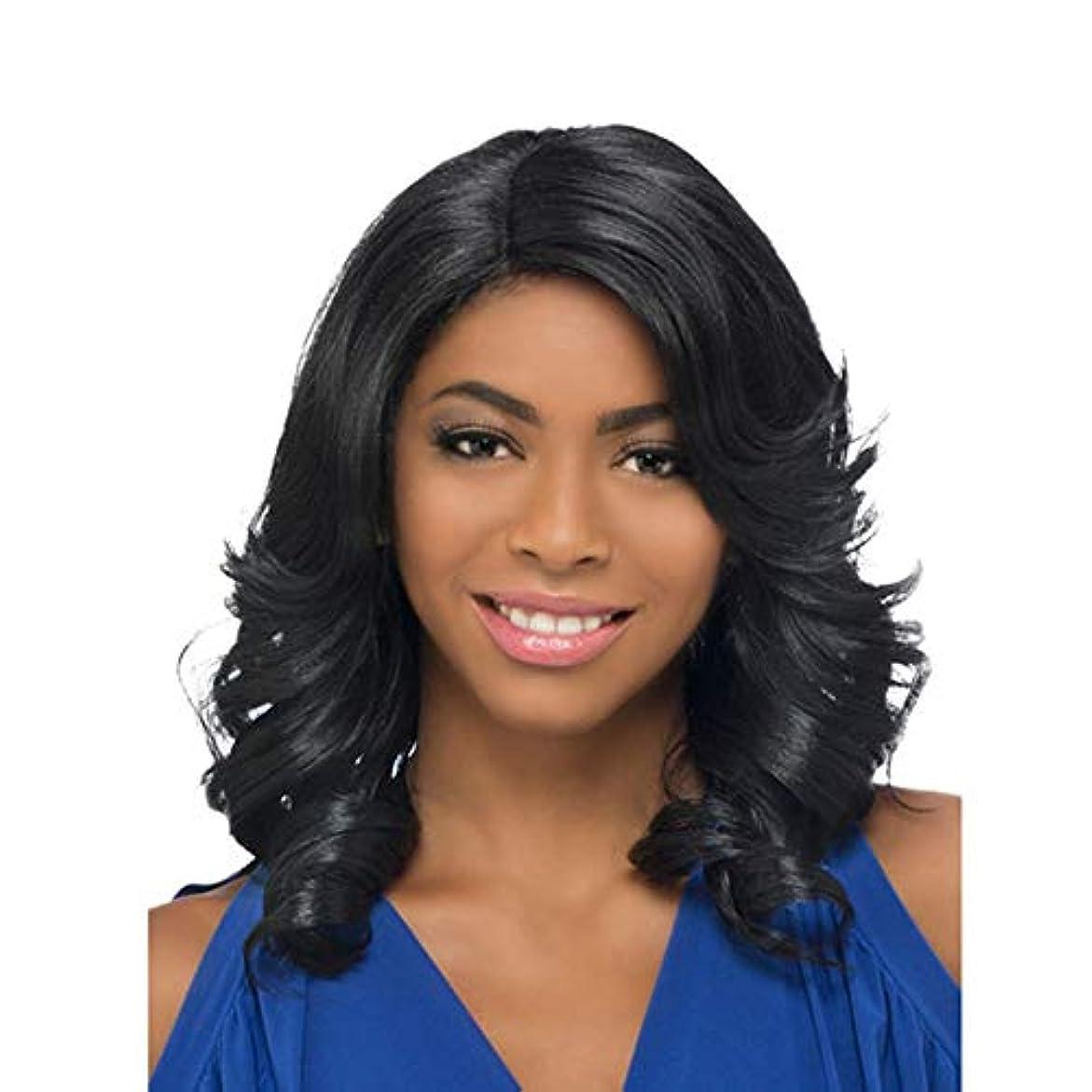 爆発キリンラショナルWASAIO 女性の長いストレートの髪のかつら肩の長さの前髪と波状 (色 : 黒)