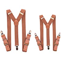 MENDENG Retro Suspenders for Men and Kid Vintage Leather Father Son Matching Set