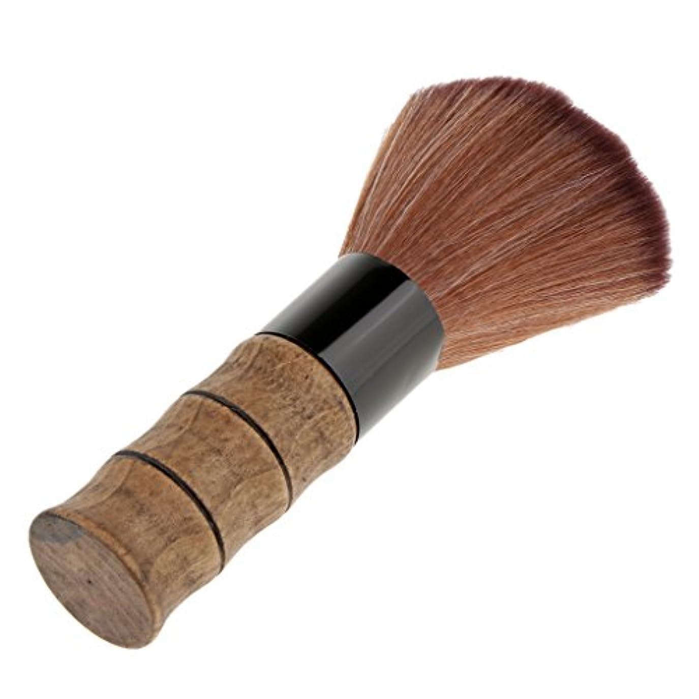 スリチンモイ控えめな抑圧するシェービングブラシ ソフトファイバー 脱毛 シェービング ブラシ ブラッシュ ルーズパウダー メイクブラシ 繊維+竹ハンドル 2色選べる - 褐色