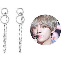 YFresh BTS Bangtan Boys V Jimin The Same Style Vintage Silver Studing Earrings with 1 3D Sticker 2 BTS Lemo Cardfor A.R.M.Y