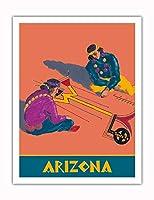 アリゾナ州 - ホピインディアンズの砂の絵 - サンタフェ鉄道 - ビンテージな鉄道旅行のポスター c.1940s - アートポスター - 51cm x 66cm