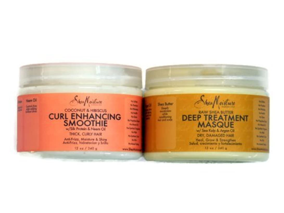 パニック狂うマンモスShea Moisture Coconut Hibiscus Curl Enhancing Smoothie & Organic Raw Shea Butter Deep Treatment Hair Masque Bundle...