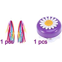 LIOOBO 1Pair Kids Bike Handlebar Streamers Bicycle Grips Tassels Ribbons with 1pc Bike Ring Bell (Purple White)
