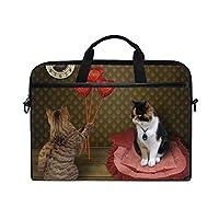 TARTINY 15-15.4インチラップトップバッグ猫に花束ルビーハート彼の肩のメッセンジャーバッグスリーブケースタブレットブリーフケース付きハンドルストラップ