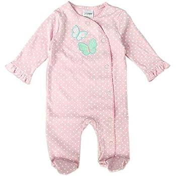 0c72a7df5fabb Limi ベビー 赤ちゃん 足つき ロンパース 長袖 カバーオール 100%綿製 肌着 前開き オールシーズン 女の子 かわいい ドット ハート  バタフライ ベビー服 (ピンク