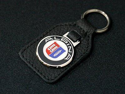 ALPINA BMW エンブレムキーホルダー 高級ブラックレザー製 合金メタルエンブレム付き アルピナ