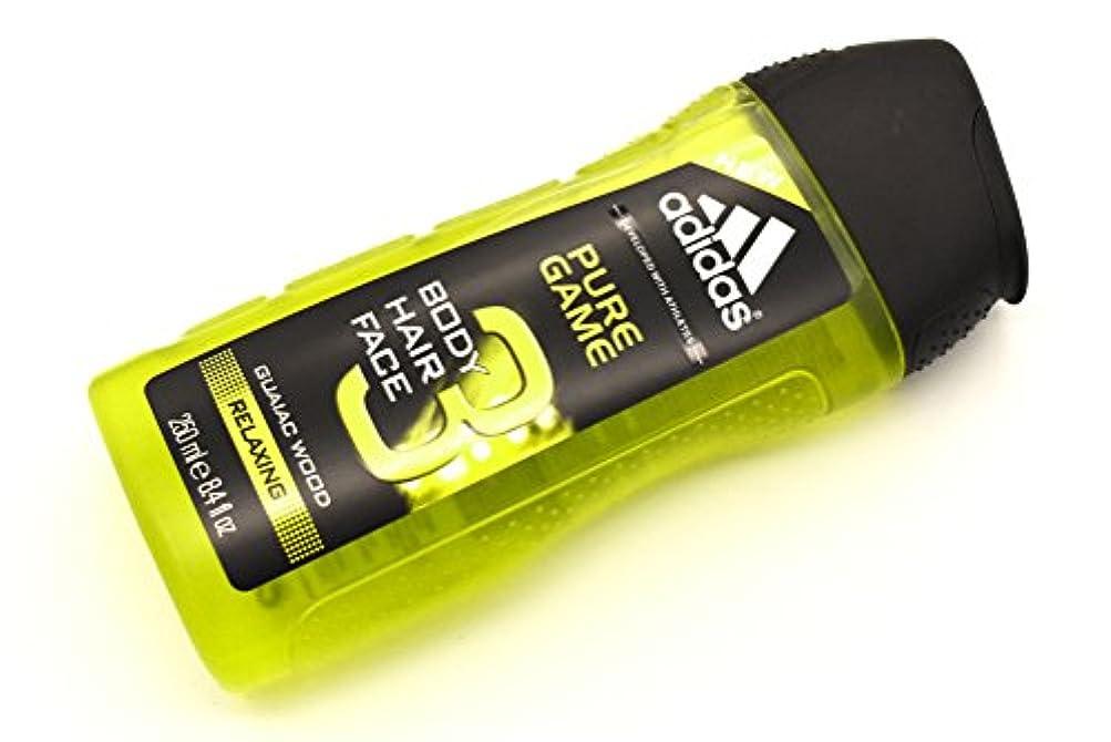五十宝石抽象adidas PURE GAME 3in1 shower gel アディダス ボディーソープ ピュア?ゲーム ボディー&ヘアー&フェイス 3in1 シャワージェル 250ml クリアケース 日本未発売 並行輸入