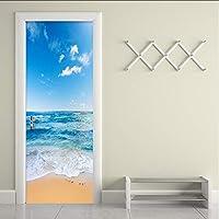 Xbwy 現代の青い海辺風景ドアステッカー3D壁壁画リビングルームの寝室Pvc防水家の装飾壁紙-350X250Cm