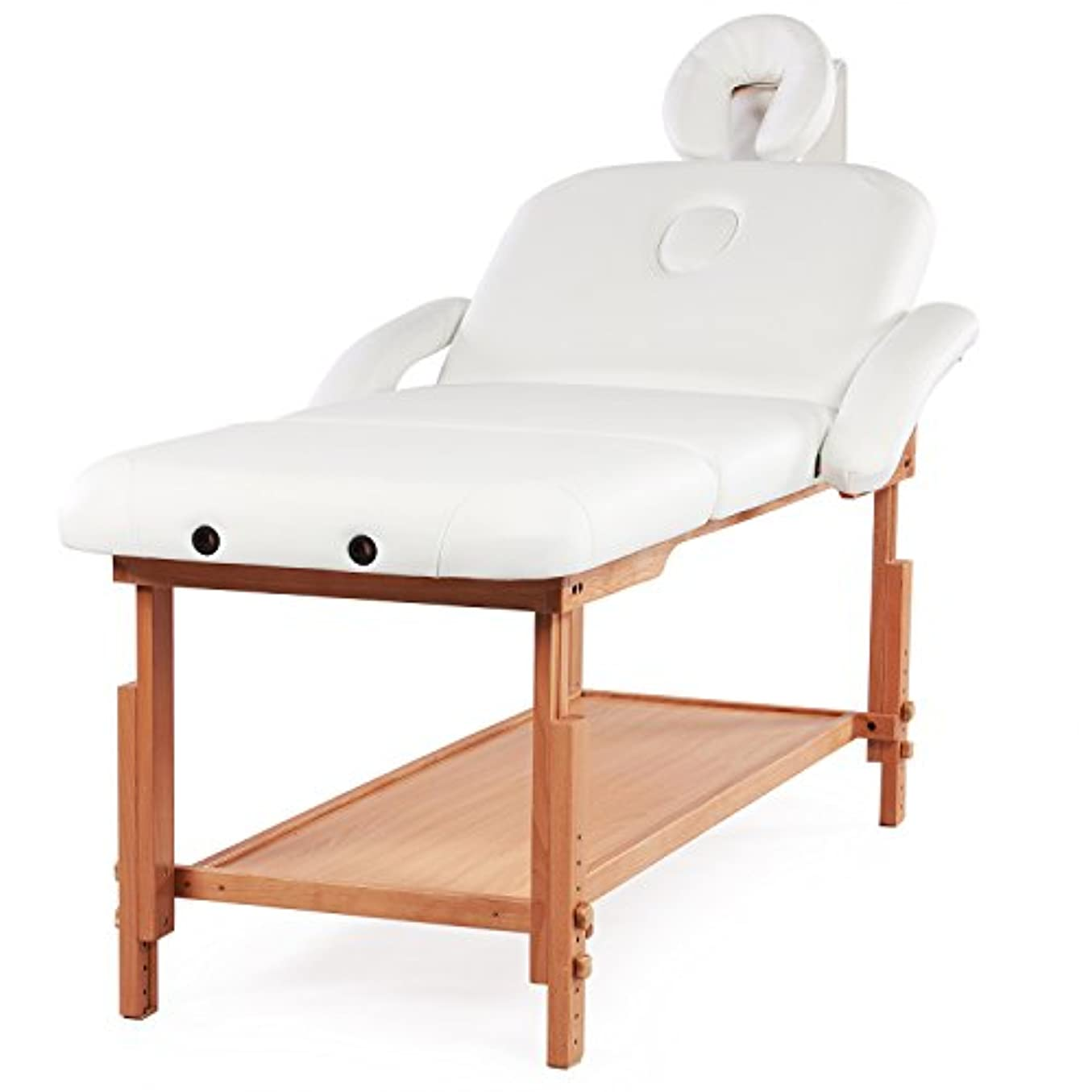ミリメートル建物乳剤HEALTH LinE MASSAGE PRODUCTS ストレージ3セクションと固定調整可能なマッサージテーブルベッドプロ傾きMAXLOAD500lbs ×ラージ ホワイト