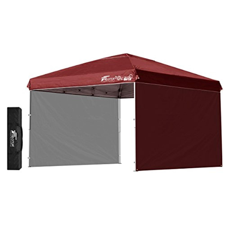 FIELDOOR 組立て簡単!! ワンタッチタープテント G03 スチールフレーム 3.0m/2.5m/2.0m 専用横幕/サイドシート2枚付属 風抜けベンチレーション 高耐水加工&シルバーUVカットコーティング 紫外線カット 遮熱