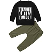 VISGOGO Toddler Baby Boy Letters Printed Clothes Long Sleeve Black T-Shirt Tops+Pants Outfits Set