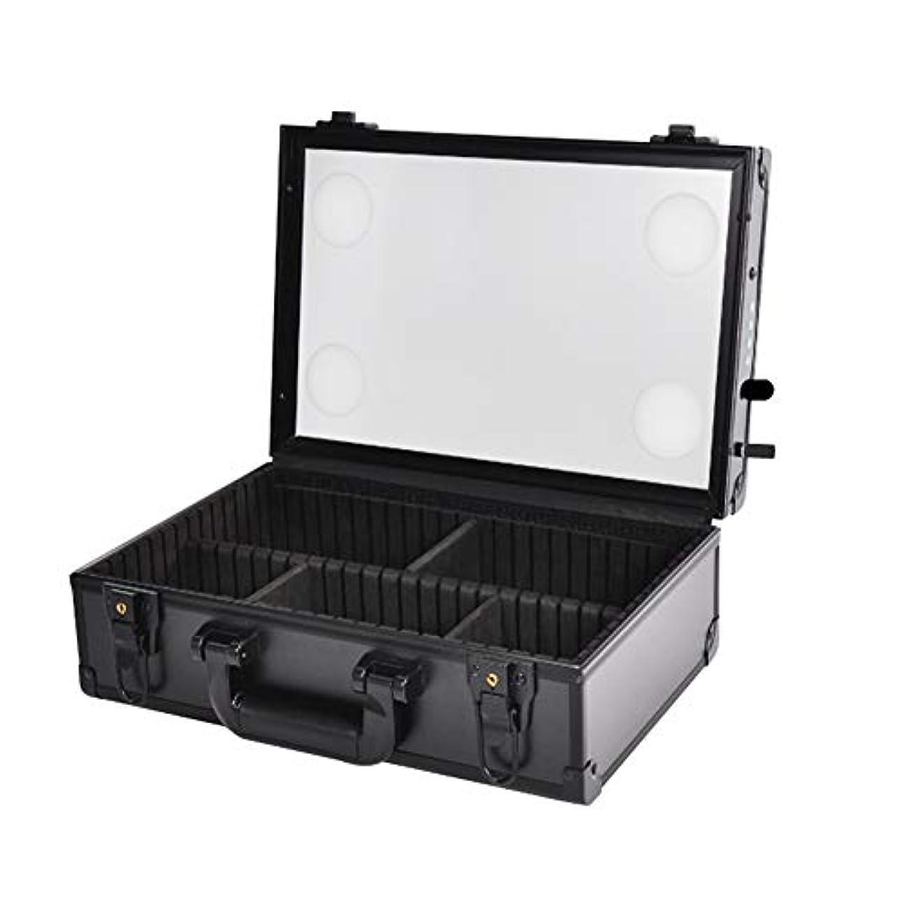 適性冗長ネブポータブル化粧品ケースメイクアップアーティストプロフェッショナル電車箱収納付きLEDライト調光ツールボックス100V?250Vでソケット