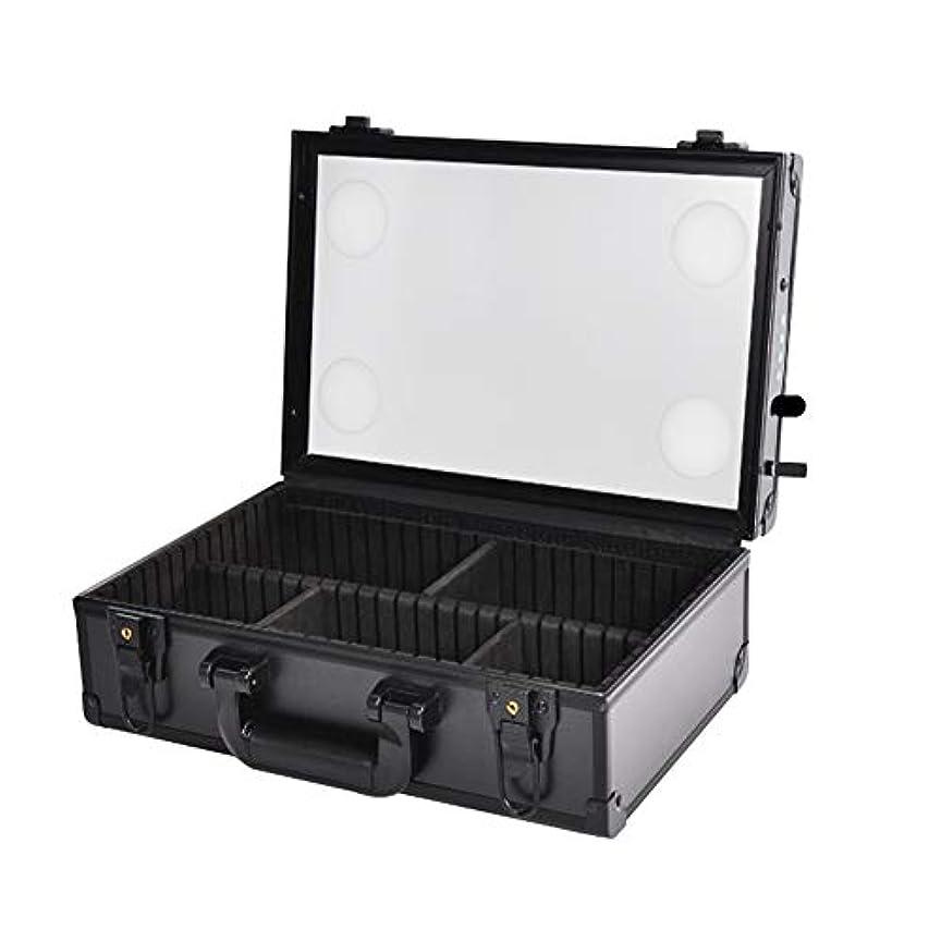 免疫するウルル肉のポータブル化粧品ケースメイクアップアーティストプロフェッショナル電車箱収納付きLEDライト調光ツールボックス100V?250Vでソケット