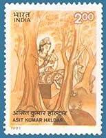 Asit Kumar Haldar Personality, Painter, Artist, Poet, Shantiniketan, Painting - Siddhartha with Injured Bird Indian Stamp