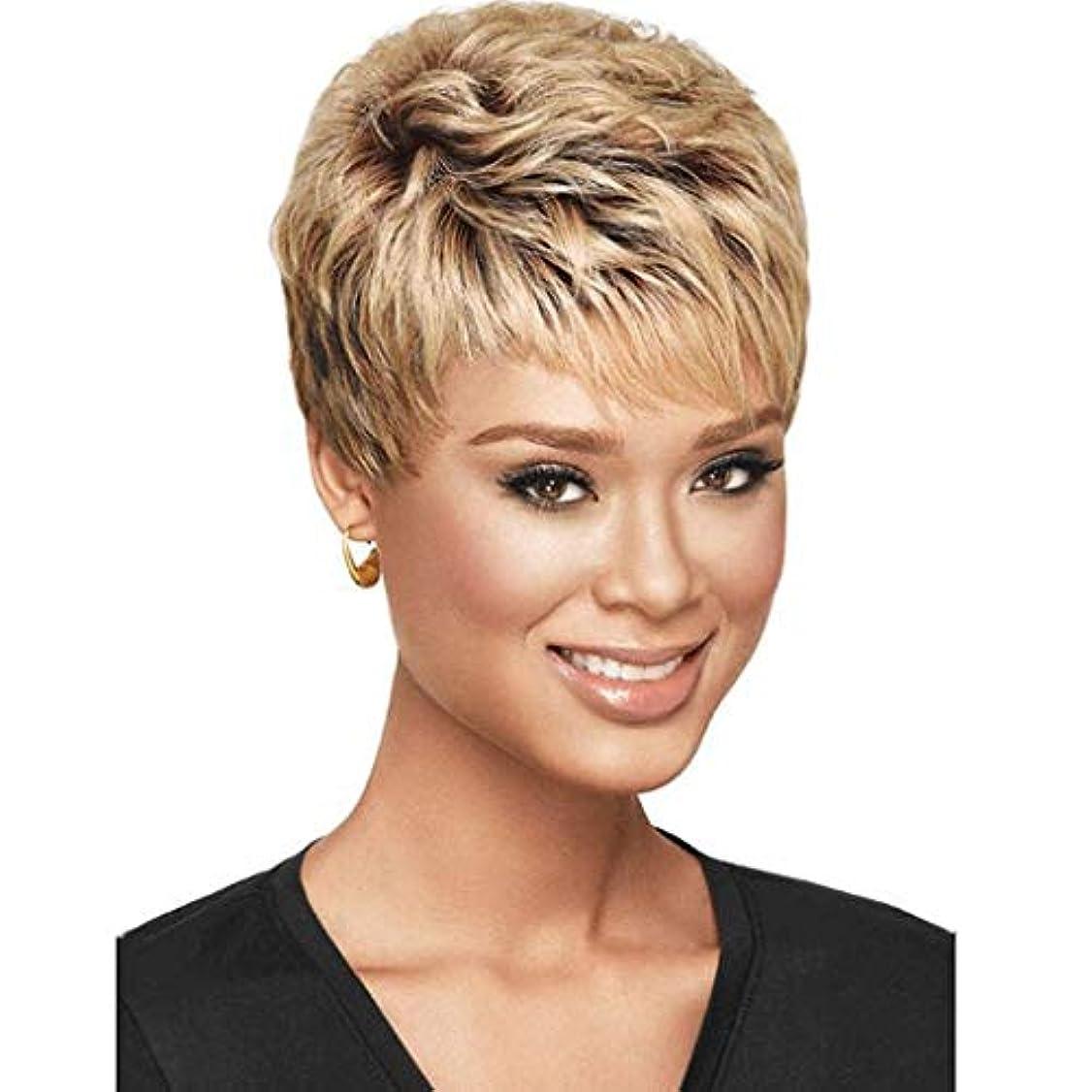 いらいらさせるどこにも認める女性ショートヘアふわふわショートヘア高温シルクウィッグキャップ