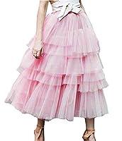 レディース ふわふわ プリンセス レイヤード メッシュ バレエ プロム パーティー チュール チュチュ Aライン ロングスカート (S, ピンク)