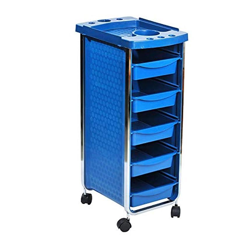 ダブルシェード地味なエステサロントロリーサロン多機能引き出しヘアカラーカー6層黒,Blue