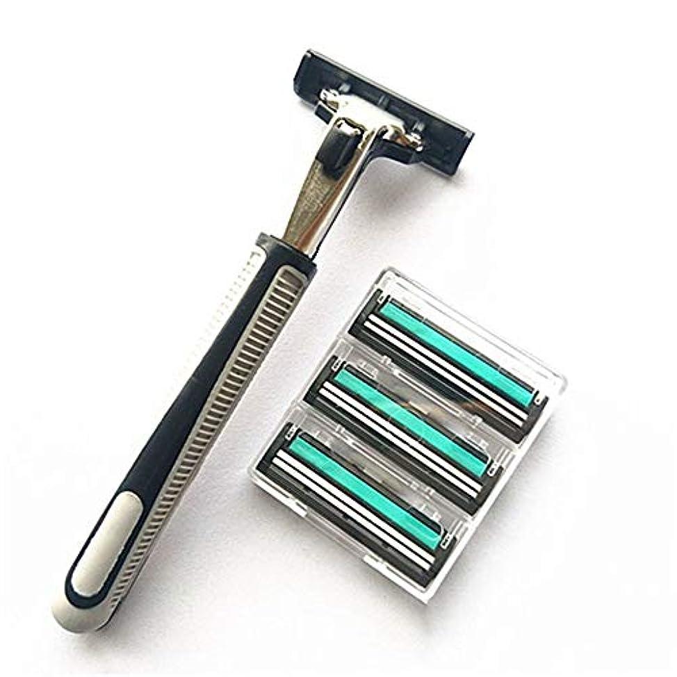 お茶馬鹿オデュッセウスaomashangmao 新しい輸入ステンレス鋼ダブルかみそりの刃、12男性のかみそりの刃と1ピースマニュアルメンズストレートかみそり
