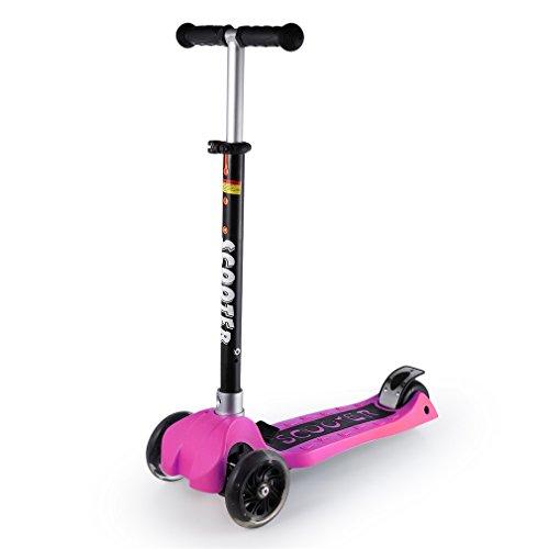 Dpower キックボード 子供用 3輪 ブレーキ キッズ キックスケーター キックスクーター 子供スクーター 正規品 キックスクーター スノースクーター 折りたたみ式 高さ調節可能 スキーもできる児童車 三輪/二輪 (MQ-S0018 ピンク)