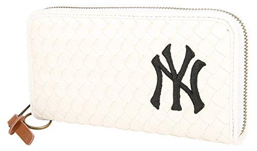 (ニューヨークヤンキース) NEWYORK YANKEES 財布 メンズ 長財布 合皮 編み込み 5color Free ホワイト