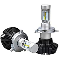 「SUPAREE」H4 Hi/Lo LED ヘッドライト 車検対応 Lumileds LUXEON ZES CHIP 採用 8000Lm 6500k ファンレス 一体型 角度調整機能付き 日本語マニュアル付き 三年保証