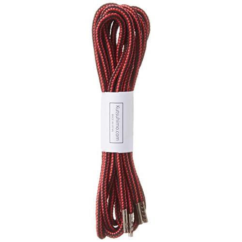 (クツヒモドットコム)靴ひも.com ワークブーツ用靴紐・赤×黒(約4mm) 130cm ひも先加工-黒ニッケル金属