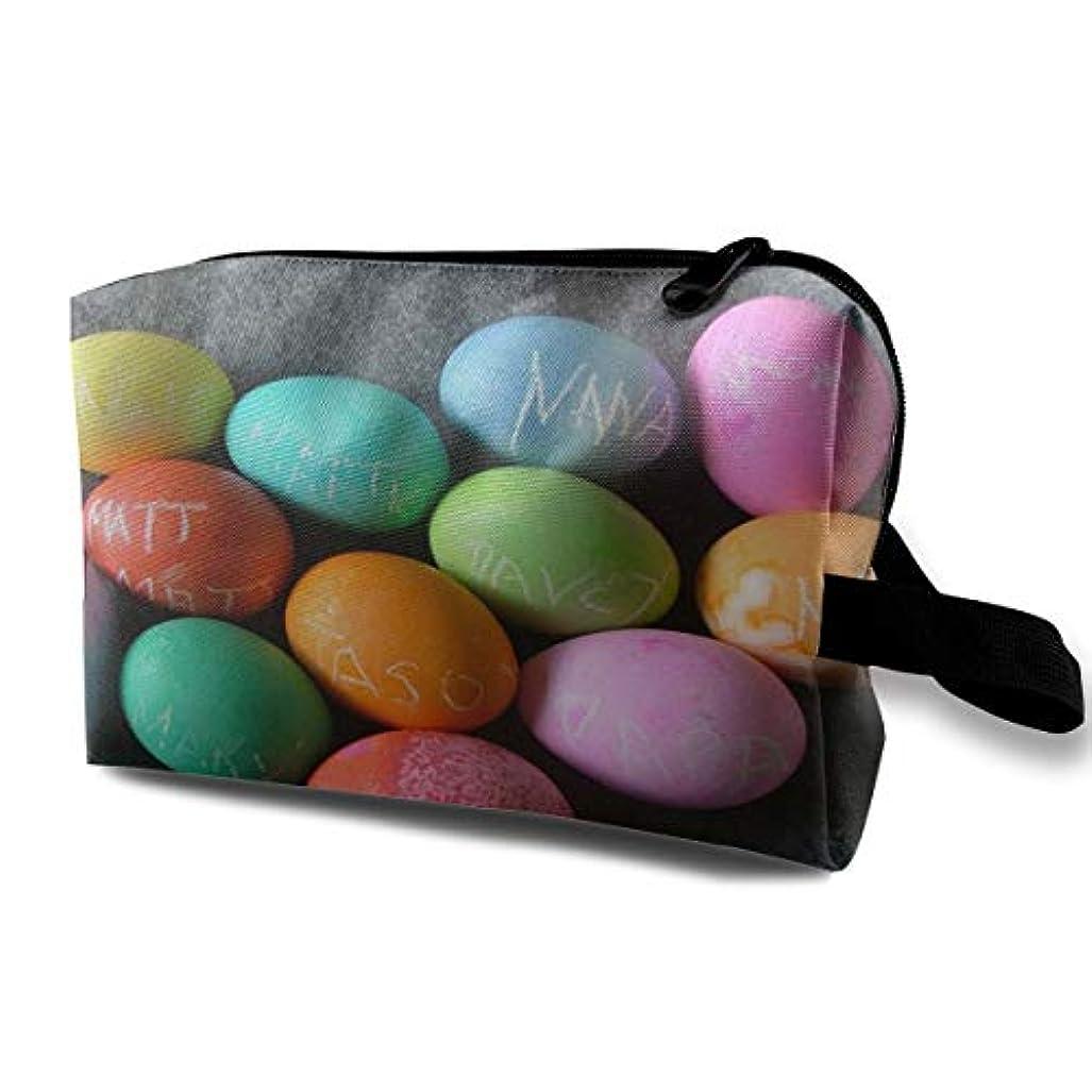 雷雨夫バッジEaster Eggs With Text 収納ポーチ 化粧ポーチ 大容量 軽量 耐久性 ハンドル付持ち運び便利。入れ 自宅?出張?旅行?アウトドア撮影などに対応。メンズ レディース トラベルグッズ