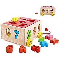 幼児期のゲーム 15穴ホールトラックインテリジェンスボックスデジタルビルディングブロック子供の木製のおもちゃ(カラフル)