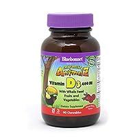 海外直送品Super Earth Rainforest Animalz Vitamin D3 400 Iu, Mixed Berry Flavor 90 Animal Shaped Chew Tabs by Bluebonnet Nutrition