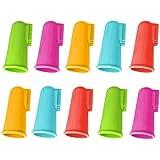 ゴシレ® [Gosear®] 10個の柔らかいシリコーンのペット指の歯ブラシの歯のクリーニングの歯ブラシの子犬猫の歯科心配のきれいなランダム色